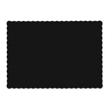 Hoffmaster® Solid Color Scalloped Edge Placemats, 9 1/2 x 13 1/2, Black, 1000/Carton