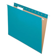 Pendaflex® Colored Hanging Folders, 1/5 Tab, Letter, Teal, 25/Box