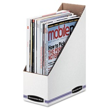 Bankers Box® Corrugated Cardboard Magazine File, 4 x 9 1/4 x 11 3/4, White, 12/Carton
