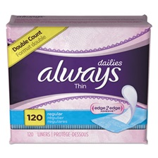 Always® Dailies Thin Liners, Regular, 120/Pack, 6 Pack/Carton