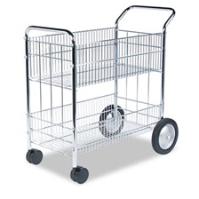 Fellowes® Wire Mail Cart, 21-1/2w x 37-1/2d x 39-1/4h, Chrome