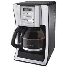 Mr. Coffee® 12-Cup Programmable Coffeemaker, Black/Brushed Silver