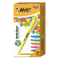 BIC® Brite Liner Highlighter, Chisel Tip, Assorted Colors, 24/Set