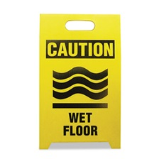 See All® Economy Floor Sign, 12 x 14 x 20, Yellow/Black, 2/Pack