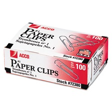 ACCO Smooth Standard Paper Clip, #1, Silver, 100/Box, 10 Boxes/Pack