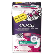 Always® Discreet Sensitive Bladder Protection Liners, Ultra Thin, 30/Pack
