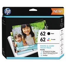 "HP HP 62 (K3W67AN) Black/Tri-Color Original Ink w/Photo Paper,30;4"" x 6"";15;5"" x 7"""