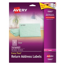 Avery® Clear Easy Peel Return Address Labels, Laser, 1/2 x 1 3/4, 800/Pack
