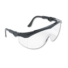 Crews® Tomahawk Wraparound Safety Glasses, Black Nylon Frame, Clear Lens, 12/Box