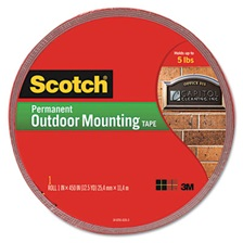 "Scotch® Exterior Weather-Resistant Double-Sided Tape, 1"" x 450"", Gray"