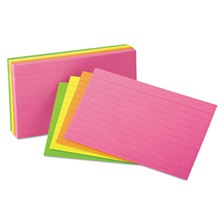 Oxford™ Ruled Index Cards, 3 x 5, Glow Green/Yellow, Orange/Pink, 100/Pack