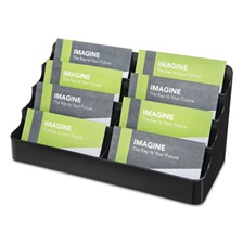 deflecto® Recycled Business Card Holder, Holds 400 2 x 3 1/2 Cards, Eight-Pocket, Black
