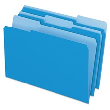 Pendaflex® Colored File Folders, 1/3 Cut Top Tab, Legal, Blue/Light Blue, 100/Box