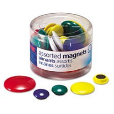 Officemate Assorted Magnets, Circles, Assorted Sizes & Colors, 30/Tub
