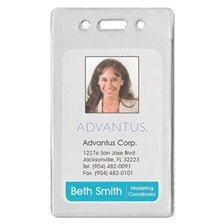 Advantus Proximity ID Badge Holder, Vertical, 2 3/8w x 3 3/8h, Clear, 50/Pack