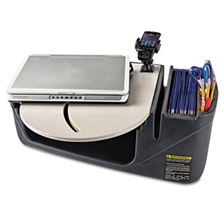 AutoExec® Car Desk with Laptop Mount, Supply Organizer, Gray