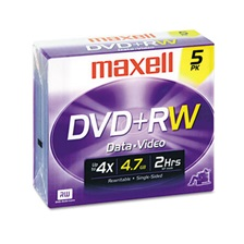 Maxell® DVD+RW Discs, 4.7GB, 4x, w/Jewel Cases, Silver, 5/Pack
