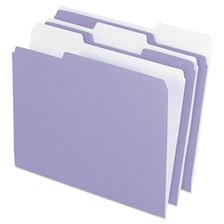 Pendaflex® Colored File Folders, 1/3 Cut Top Tab, Letter, Lavender/Light Lavender, 100/Box