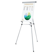 "Universal® 3-Leg Telescoping Easel with Pad Retainer, Adjusts 34"" to 64"", Aluminum, Silver"