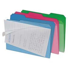 find It™ Clear View Interior File Folders, 1/3 Cut Top Tab, Letter, Assorted, 6/Pack
