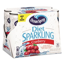 Ocean Spray® Sparkling Cranberry Juice, Diet, 8.4 oz Can, 6/Pack