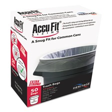 "AccuFit® Can Liners, 55gal, 0.9mil, Clear, 40"" x 53"", 50/Box"