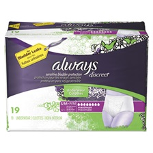Always® Discreet Incontinence Underwear, Small/Medium, Maximum Absorbency,19/Pack