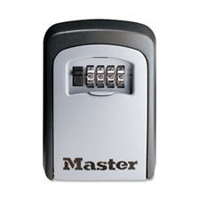 Master Lock® Locking Combination 5 Key Steel Box, 3 1/4w x 1 1/2d x 4 5/8h, Black/Silver