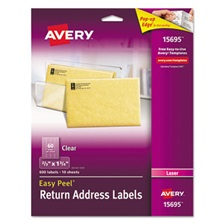 Avery® Clear Easy Peel Return Address Labels, Laser, 2/3 x 1 3/4, 600/Pack