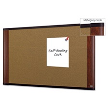 3M™ Cork Bulletin Board, 36 x 24, Aluminum Frame w/Mahogany Wood Grained Finish