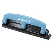PaperPro® inPRESS Three-Hole Punch, 12-Sheet Capacity, Blue/Black