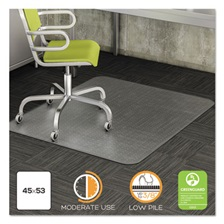 deflecto® DuraMat Moderate Use Chair Mat for Low Pile Carpet, 45 x 53, Clear