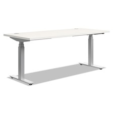 HON® Height-Adjustable Table Base, 72w x 24d x 23 5/8-49 1/4h, Silver