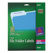 Avery® Clear File Folder Labels, 1/3 Cut, 2/3 x 3 7/16, 450/Pack