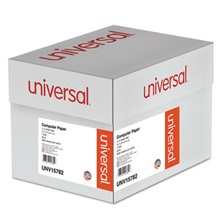 Universal® Green Bar Computer Paper, 20lb, 14-7/8 x 8-1/2, Perforated Margins, 2600 Sheets