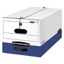 Bankers Box® LIBERTY Heavy-Duty Strength Storage Box, Letter, 12 x 24 x 10, White/Blue, 4/CT