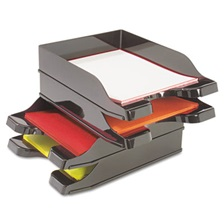 deflecto® Docutray Multi-Directional Stacking Tray Set, Two Tier, Polystyrene, Black