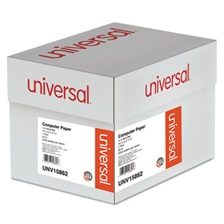 Universal® Blue Bar Computer Paper, 20lb, 14-7/8 x 11, Perforated Margins, 2400 Sheets