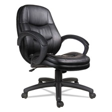 Alera® Alera PF Series Mid-Back Leather Office Chair, Black Leather, Black Frame
