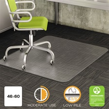 deflecto® DuraMat Moderate Use Chair Mat for Low Pile Carpet, Beveled, 46 x 60, Clear