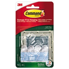 Command™ All Weather Hooks and Strips, Plastic, Small, 16 Clips & 20 Strips/Pack