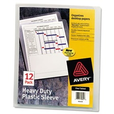 Avery® Heavy-Duty Plastic Sleeves, Letter, Polypropylene, Clear, 12/Pack