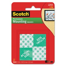 Scotch® Precut Foam Mounting 1 Squares, Double-Sided, Permanent 16/Pack