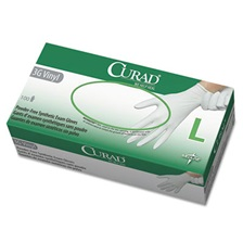 Curad® 3G Synthetic Vinyl Exam Gloves, Powder-Free, Large, 100/Box