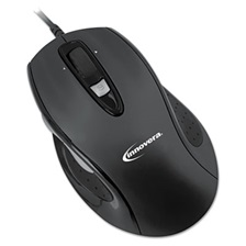 Innovera® Full-Size Wired Optical Mouse, USB, Black