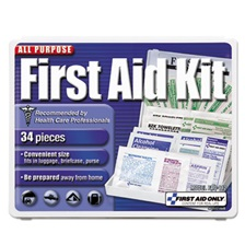 First Aid Only™ All-Purpose First Aid Kit, 34 Pieces, 3 3/4 x 4 3/4 x 1/2, Blue/White