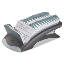 Durable® TELINDEX Desk Address Card File Holds 500 4 1/8 x 2 7/8 Cards, Graphite/Black