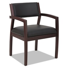 Alera® Alera Reception Lounge 500 Series Wood Guest Chair, Mahogany/Black Leather