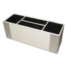 Artistic® Architect Line Supply Caddy, 4-Compartment, 3 x 8 3/4 x 3, White/Silver