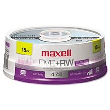 Maxell® DVD+RW Discs, 4.7GB, 4x, Spindle, Silver, 15/Pack